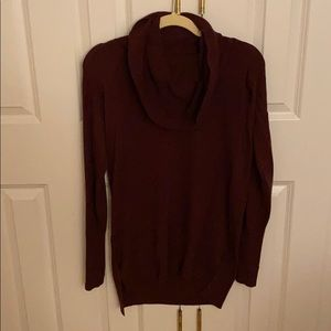Cowl-neck high low plum sweater